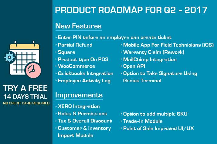 RepairDesk Roadmap for Quadrant 2 – 2017